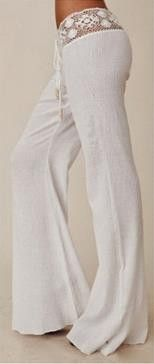 Lace Patchwork Slim Casual Wide Legs Long Pants