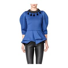 Royal Blue Peplum Top ($141) ❤ liked on Polyvore featuring tops, royal blue top, embellished peplum top, royal blue peplum top, peplum tops and electric blue top