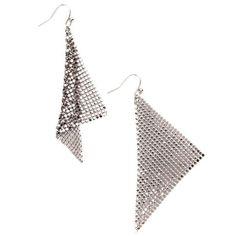 Whiting & Davis - Fine Mesh Earrings, Silver