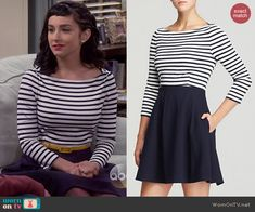 Mandy's striped long sleeve dress with solid skirt on Last Man Standing.  Outfit Details: http://wornontv.net/47077/ #LastManStanding