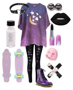 """""""Pastel babe """" by my-sweet-darkness ❤ liked on Polyvore featuring WithChic, Lime Crime and Retrò"""