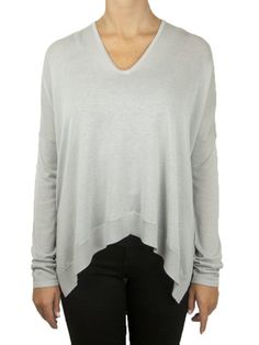 GRAY IS THE NEW BLACK: Helmut Lang Wide Hem Pullover in gray
