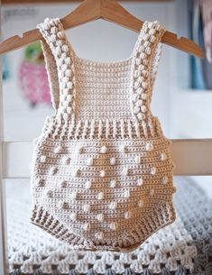Ravelry: Bobble Romper pattern by Mon Petit Violon, crochet pattern, baby onesies Crochet Romper, Crochet Bebe, Crochet Hooks, Knit Crochet, Knitted Baby Romper, Crochet Shawl, Baby Clothes Patterns, Baby Knitting Patterns, Baby Patterns