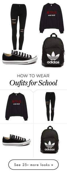 """""""PERFECT SCHOOL OUTFIT"""" by isra-aa on Polyvore featuring Converse, adidas Originals, women's clothing, women, female, woman, misses and juniors"""