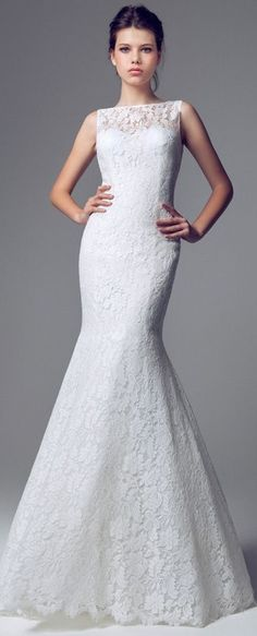 Blumarine Sposa - 2014 - Sleeveles Lace Mermaid Gown with Bateau Neck