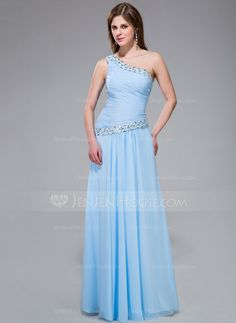 Evening Dresses - $132.99 - A-Line/Princess One-Shoulder Floor-Length Chiffon Evening Dress With Ruffle Beading Sequins (017030898) http://jenjenhouse.com/A-Line-Princess-One-Shoulder-Floor-Length-Chiffon-Evening-Dress-With-Ruffle-Beading-Sequins-017030898-g30898
