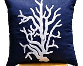 Coral Reef Throw Pillow Cover,  Navy Decorative Pillow Cover, White Coral on Navy Blue Linen Pillow, Pillow Case 18 x 18, Navy Cushion Cover ~ Could do these in aqua and/or tan to match Jessi & Arron's decor