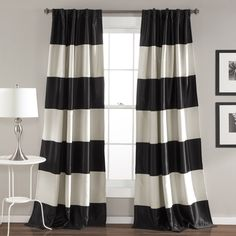 Lush Decor Montego Black and Gold Striped Window Curtain Panel Pair (Montego, Black), Size 52 x 84
