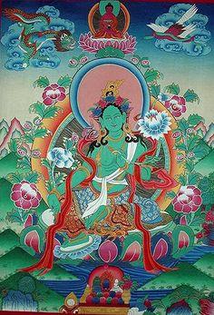Green Tara buddhamother #buddha Tibetan Mandala, Tibetan Buddhism, Green Tara, Buddhist Symbols, Buddhist Art, Vajrayana Buddhism, Lotus Painting, Buddhist Traditions, Thangka Painting