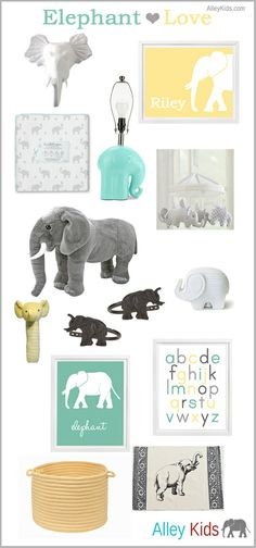 Elephant Nursery Inspiration Board in aqua, yellow and gray.  Elephant nursery art, Alphabet Poster