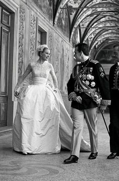 Grace Kelly and Prince Rainier Leaving the Church