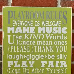 Whimsical Playroom Rules Distressed Sign - Typography Word Art via Etsy