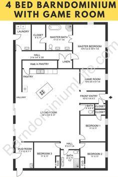 Barn Homes Floor Plans, Metal House Plans, Pole Barn House Plans, Pole Barn Homes, New House Plans, Dream House Plans, House Floor Plans, Metal Barn Homes, Garage Plans