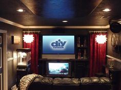 Family-Friendly Home Theaters: RMS user MacyGirl created a rich, Hollywood-inspi. Family-Friendly Home Theaters: RMS user MacyGirl created a rich, Hollywood-inspired media room by i Home Theater Curtains, Home Theater Rooms, Home Theater Design, Cinema Room, Media Room Design, Family Room Design, Movie Themed Rooms, Movie Rooms, Tv Rooms