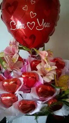 Bombones, Flores, Regalo, Aniversarios, Novia, Novio - $ 470,00