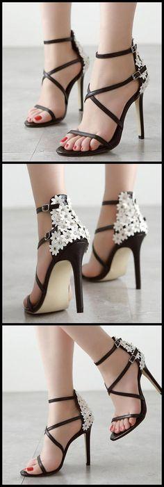 Stylish Floral Open Toe Stiletto High Heels Sandals #tidestorereviews #highheels #sandals