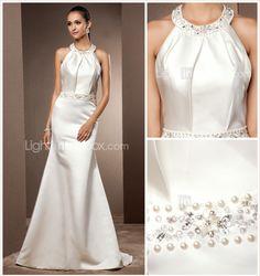 Trumpet/Mermaid Jewel Sweep/Brush Train Satin Wedding Dress