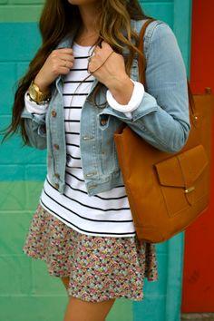 Stripes + Florals + Jean Jacket