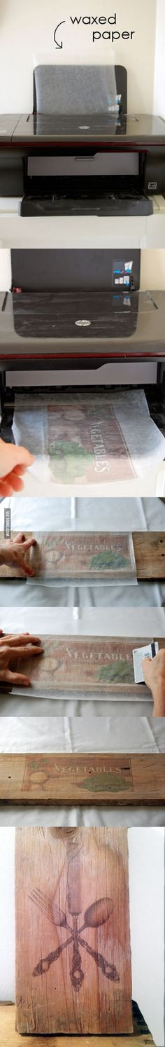 Waxed paper to wood transfers decor, print on wood, printing on wood diy, creativ, idea, crafti, art, awesom, wax paper