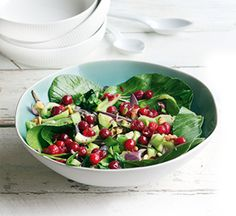 Warm pak choi and cranberry salad