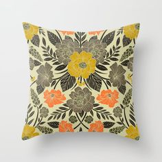 Buy Modern Botanical Print w/ Flowers in Yellow, Orange, Black & Gray Throw Pillow by somecallmebeth. Worldwide shipping available at Society6.com. Just one of millions of high quality products available. Grey Throw Pillows, Couch Pillows, Designer Throw Pillows, Down Pillows, Botanical Prints, Black And Grey, Gray, Orange, Yellow