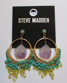 Steve Madden Hoop Chain Link Stone Beaded Post Earrings  NWT #SteveMadden #ChainLink