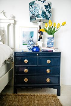 Exactly what I want for my side table (tray pull out) plus drawers. I love this almost black blue