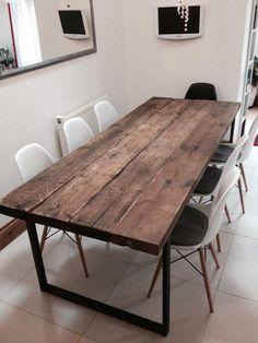 Legno Massello : Tavolo da soggiorno stile rustico/vintage in legno massello e gambe in ferro