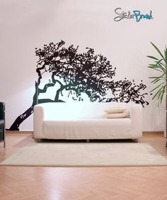 Vinyl Wall Decal Sticker Leaning Tree Cover #385 | Stickerbrand wall art decals, wall graphics and wall murals.