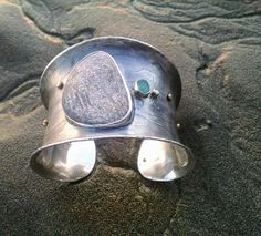 Custom cuff for Chris, etched silver with stone, sea glass, diamond and gold rivets