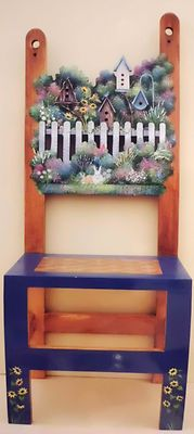 "Kathy Langdon ""Birdhouses In My Garden"" Country Chair Tole Painting Pattern Nip (Painted Furniture) Painted Chairs, Hand Painted Furniture, Recycled Furniture, Painting Lessons, Art Lessons, Painting Tips, Tole Painting Patterns, One Stroke Painting, Pintura Country"