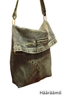 Small bag made from sewing the bottom part of one of the legs from a pair of jeans. Would be cute for a little girl's purse.