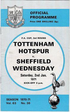 Vintage Football (soccer) Programme - Tottenham Hotspur v Sheffield Wednesday, FA Cup, 1970/71 season #football #soccer #spurs