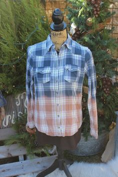 M Destroyed Flannel Shirt / Distressed Flannels / Size Medium Shirt / Long Sleeve Plaid Flannel / Bleached, grunge Dipped Shirt  FF78 by GypsyFarmGirl on Etsy