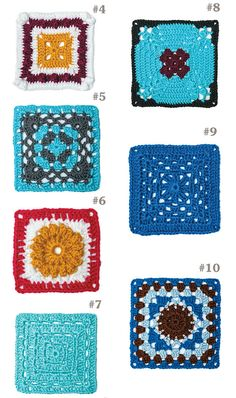 Crochet Squares Granny Design Take a creative journey beyond the basic granny square! The motifs in 99 Granny Squares to Crochet are great for using any weight of yarn and your favorite color combinations to make throws, pillows, - Granny Square Crochet Pattern, Crochet Blocks, Crochet Squares, Crochet Blanket Patterns, Crochet Granny, Crochet Motif, Crochet Designs, Crochet Yarn, Afghan Crochet