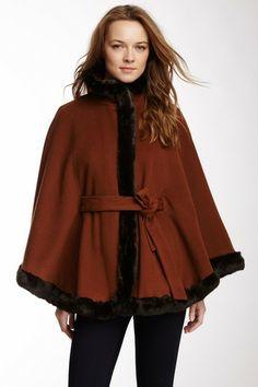 Wool Blend Faux Fur Trim Tuxedo Cape by Ellen Tracy on @HauteLook