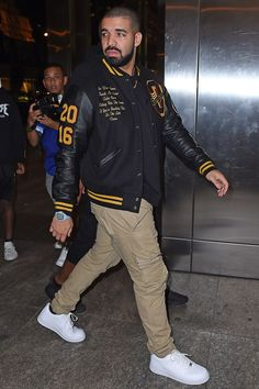 Don't want to miss out on seeing Drake live on The Boy Meets World Tour? Join the Drake Fan Group and Wish List for a chance to attend the concert on February Drake Fashion, Mens Fashion, Style Fashion, Letterman Jacket Outfit, Drake Clothing, Rapper Outfits, Black Men Street Fashion, Mode Streetwear, Swagg