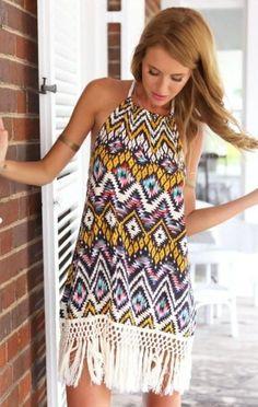 3ccc78467d5 Trendy Tribal-Print Fringe Halter Backless Beach Cover Up S-XL. Women Summer  Bohemian Dresses Newest Designs Fashion ...
