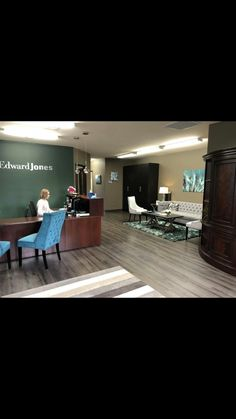 Business Office Decor, Office Signs, Office Ideas, Edwards Jones, Office Floor Plan, Agency Office, Office Waiting Rooms, Office Makeover, Office Workspace
