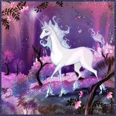 The Last Unicorn Fan Art: Unicorn in the forest. Photoshop Elements Artwork © 2007 Stella B. Last Unicorn Unicorn Painting, Unicorn Art, Rainbow Unicorn, Unicorn Fantasy, Magical Creatures, Fantasy Creatures, Beautiful Creatures, Fantasy Movies, Fantasy Art