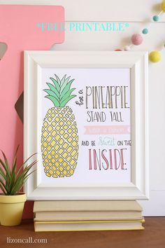 Party favors This free pineapple printable will make a great addition to a little girls room. It's a wonderful reminder of to be strong. Little Girl Rooms, Little Girls, Flamingo Party, Tropical Party, Thinking Day, Baby Shower, Luau Party, Diy Home, My New Room