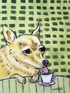 CHIHUAHUA COFFEE 11x14 reproduction of painting signed art artist print animals  #Impressionism