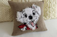 Dalmatian Dog Knit Pillow Cover Fluffy Knit101 by Adorablewares