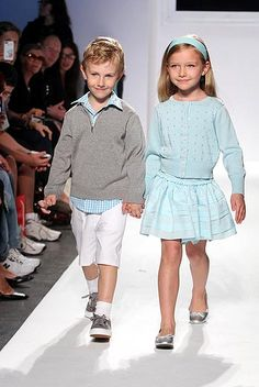 From the spring/summer 2013 runway: From the kids' runway: Baby CZ's pale aqua and gray pairing brought sighs from the crowd. www.babycz.com