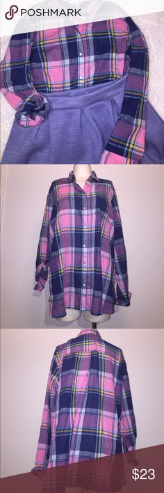 Old navy pink and blue plaid shirt Condition: new without tags   Color: pink blue yellow purist turquoise    Measurements:   Materials: 100% cotton    Suggested Styling tips: pair with jeans or shorts, over leggings or tucked in a skirt. Old Navy Tops Button Down Shirts