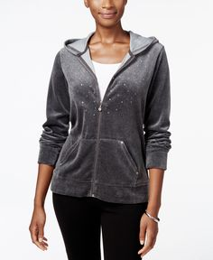 Karen Scott Petite Embellished Velour Hoodie, Only at Macy's