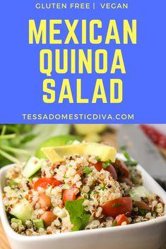 Mexican Quinoa Salad w/ Chipotle Vinaigrette - Tessa the Domestic Diva Gluten Free Recipes Side Dishes, Allergy Free Recipes, Potluck Recipes, Healthy Side Dishes, Healthy Salad Recipes, Paleo Recipes, Appetizer Recipes, Real Food Recipes, Cooking Recipes