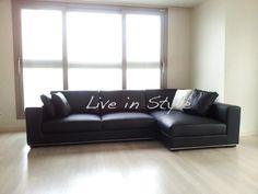 Max9009 - L-Shape Black Leather Sofa