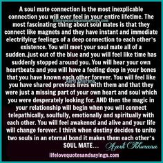 A soul mate connection is the most inexplicable connection you will ever feel in your entire lifetime. The most fascinating thing about soul mates is that they connect like magnets and they have instant and immediate electrifying feelings of a deep connection to each other's existence. You will meet your soul mate all of a …