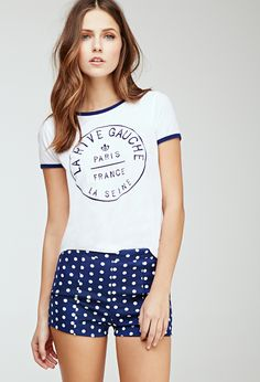 Complete the look by adding a red, white, or blue tank with these adorable polka dot knit shorts from Forever 21   @dondefashion